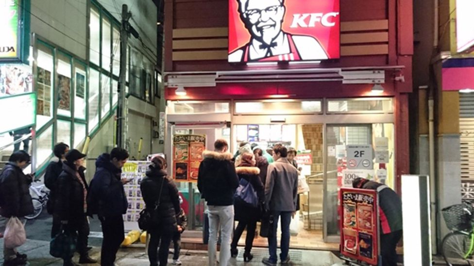 Demand is so high for KFC at Christmastime that people can queue outside for meals (Credit: KFC Japan)