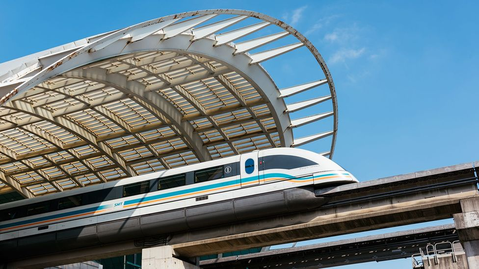 Maglev trains use a similar system, with the trains running above the rails (Credit: iStock)