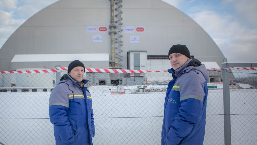 These brothers have spent their careers working on the new sarcophagus at Chernobyl. One started as a liquidator in 1988 and stayed, the other joined in 2000 (Credit: Anton Skyba)