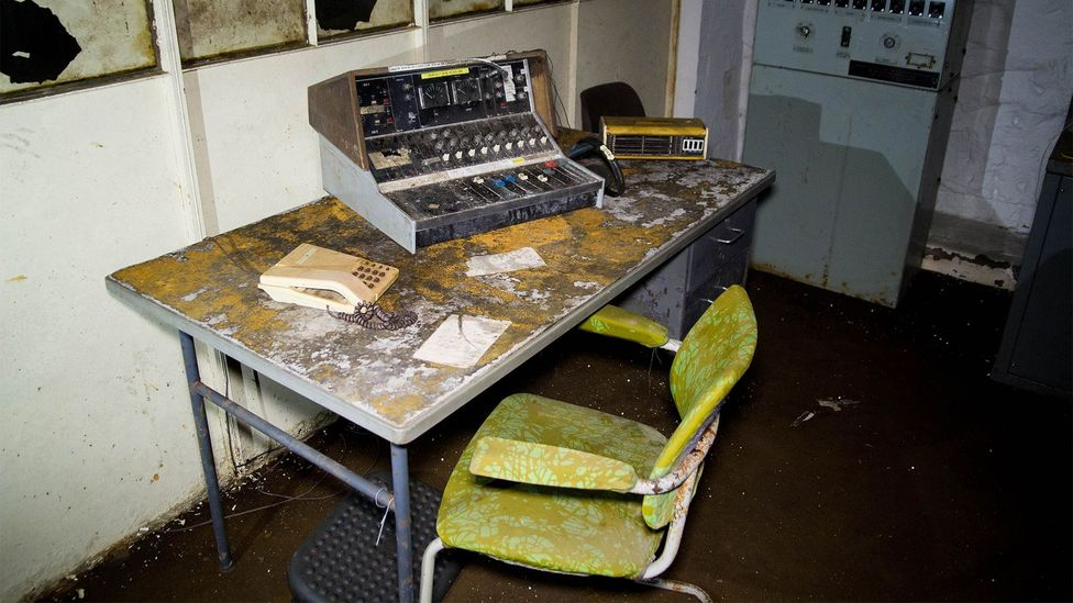 In case of attack, announcements would have been broadcast from a machine like this one, which was donated by a BBC Radio station and is not the original (Credit: William Park)