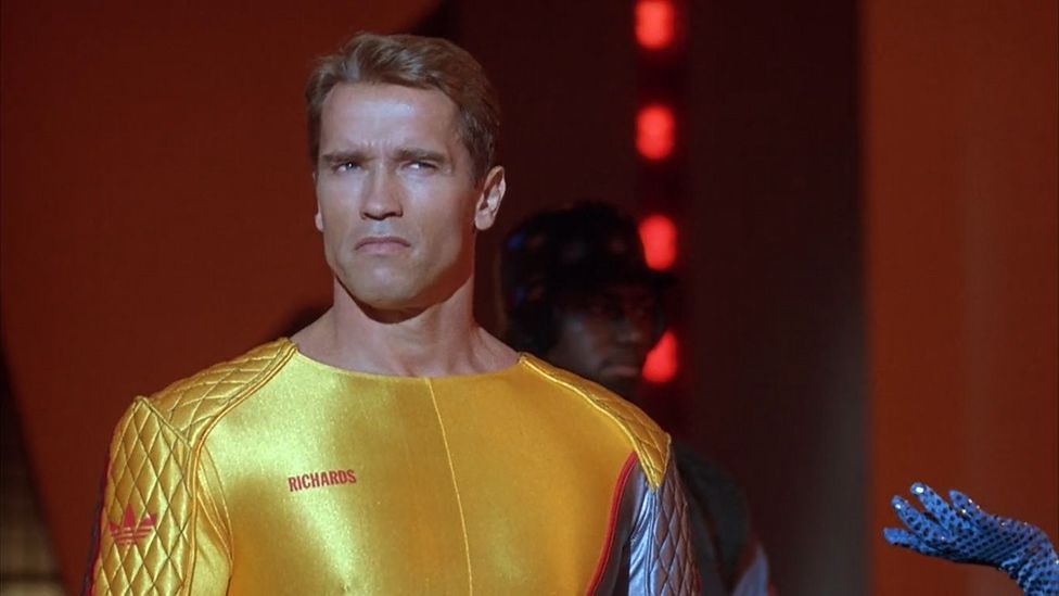Arnold Schwarzenegger plays a betrayed military hero Ben Richards in the dystopian vision of 2017 The Running Man (Credit: Braveworld/TriStar)