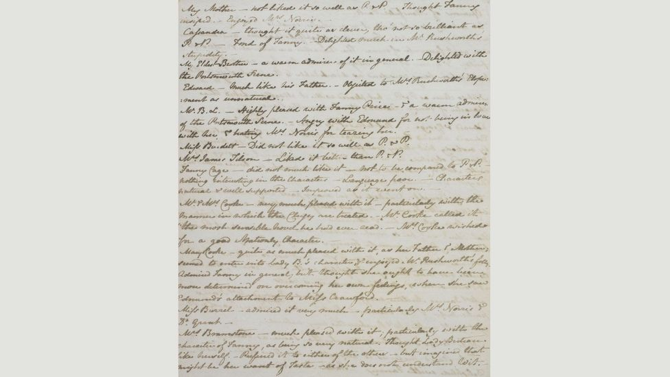 Austen transcribed what people thought of Mansfield Park in this list (Credit: British Library)