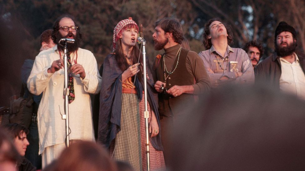 The poet Allen Ginsberg (left) was one of the performers at the Human Be-In held in San Francisco's Golden Gate Park on 14 January 1967 (Credit: Getty Images)