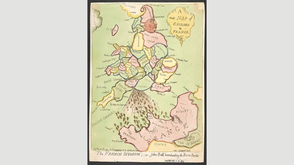 A new map of England and France, 1793, James Gillray (Credit: The British Library)
