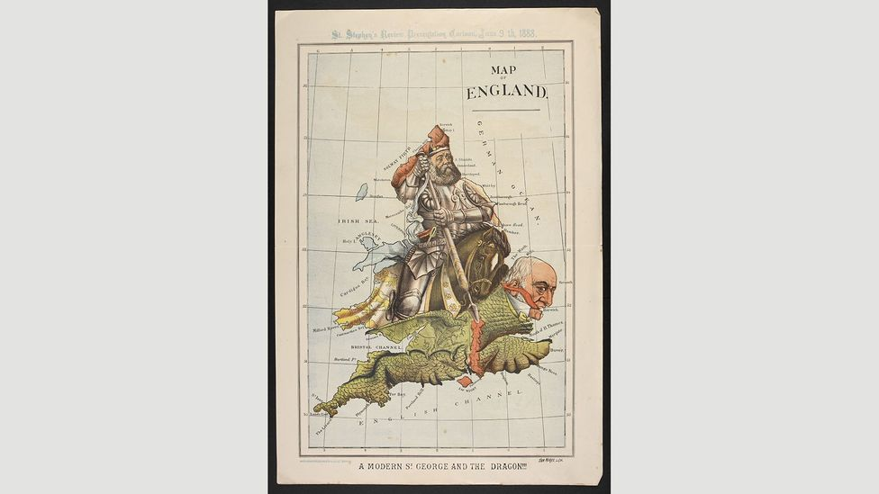 Map of England. A modern St George and the dragon!!!, 1888, William Mecham (Credit: The British Library)