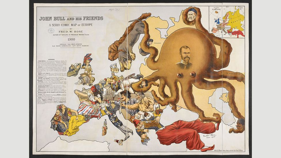 John Bull and his friends. A serio-comic map of Europe, 1900, Fred W Rose (Credit: The British Library)