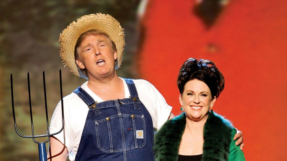 The Apprentice was such a ratings success that network NBC asked Trump to poke fun of his wealth by singing the Green Acres theme at the 2006 Emmy Awards (Credit: NBC Universal)