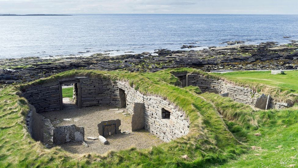 People have been living on Papa Westray for millennia – including in houses like this one, the 5,600-year-old Knap of Howar (Credit: Alamy)