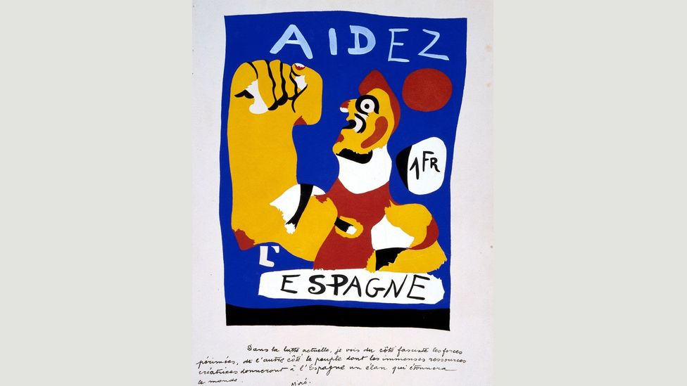 Designed as a stamp to aid the Republican Government, Help Spain (Aidez L'Espagne) was one of Miró's first political works (Credit: Museo Nacional Centro de Arte Reina Sofía)