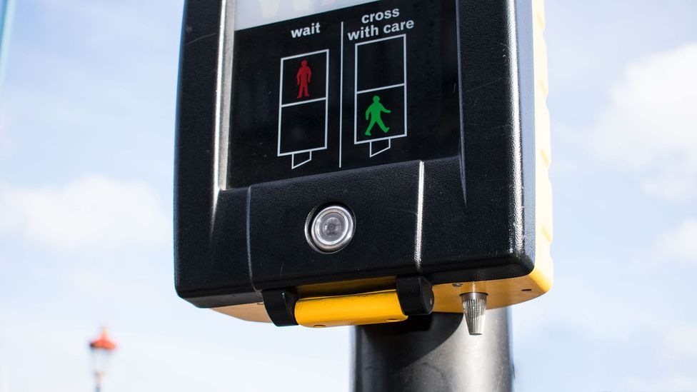 Beneath the box that gives the 'walk' signal at a pelican crossing, a small cylinder is hidden; it spins when it is safe to walk (Credit: Amanda Ruggeri)