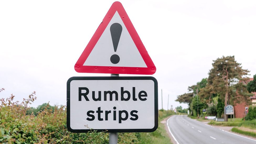 Even without the sign, a driver knows what a rumble strip is when he or she accidentally veers into one (Credit: Alamy)