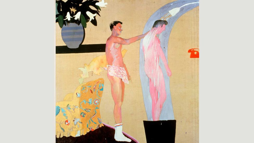 Hockney based his Domestic Scene, Los Angeles (1963) on a picture from the gay magazine Physique Pictorial (Credit: David Hockney)