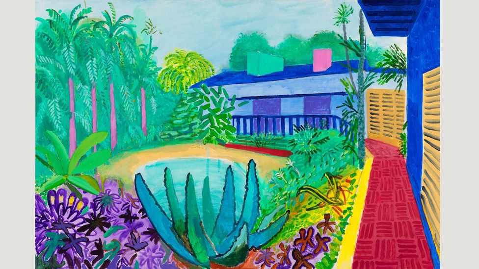One of the last rooms of Tate's exhibition contains pictures by Hockney of his garden in LA, painted in recent years (Credit: David Hockney / Richard Schmidt)