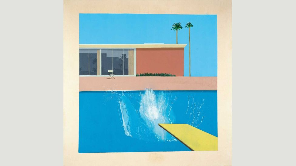 Hockney's most famous paintings of Los Angeles, such as A Bigger Splash, depict a commonplace aspect of the city: private swimming pools (Credit: David Hockney)