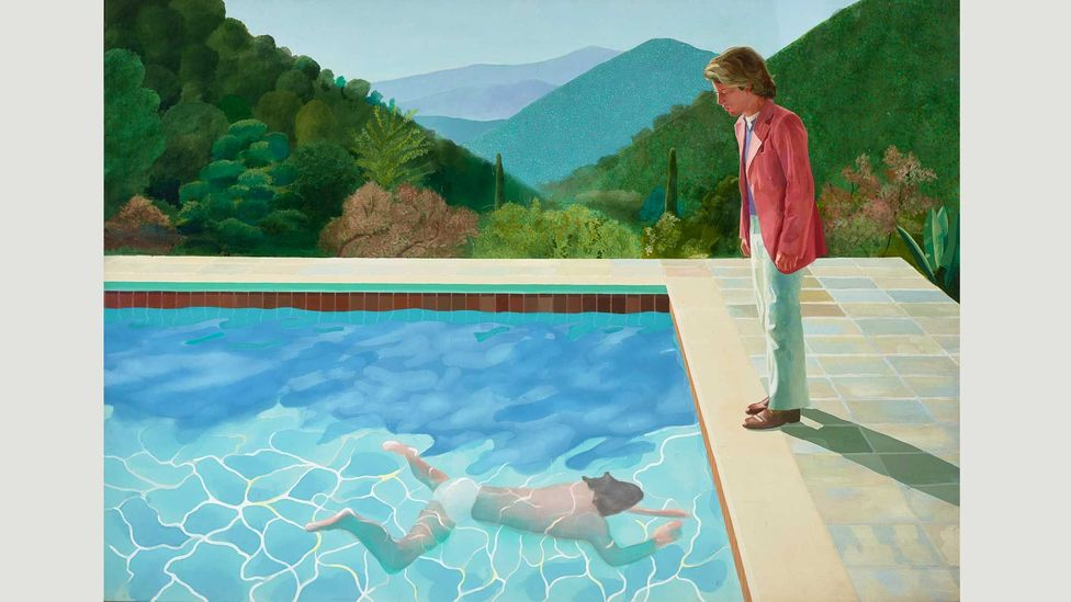 Hockney offeres a queer take on the canonical (and heterosexual) artistic tradition of depicting bathers (Credit: David Hockney/ Art Gallery of New South Wales / Jenni Carter)