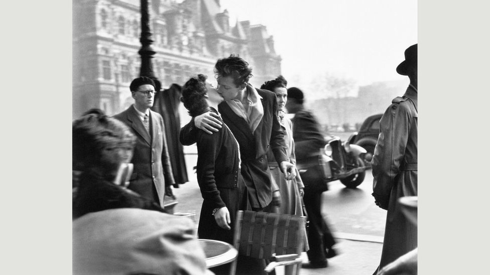 The Kiss is a suspended moment whose beauty is known only to the lovers and the photographer (Credit: Atelier Robert Doisneau, 2016)