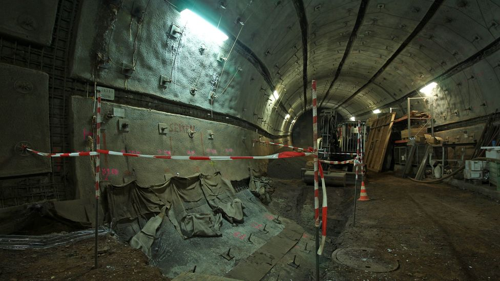 Old mine tunnels are being extended to allow for the machinery that will move the nuclear waste into place (Credit: Chris Baraniuk)