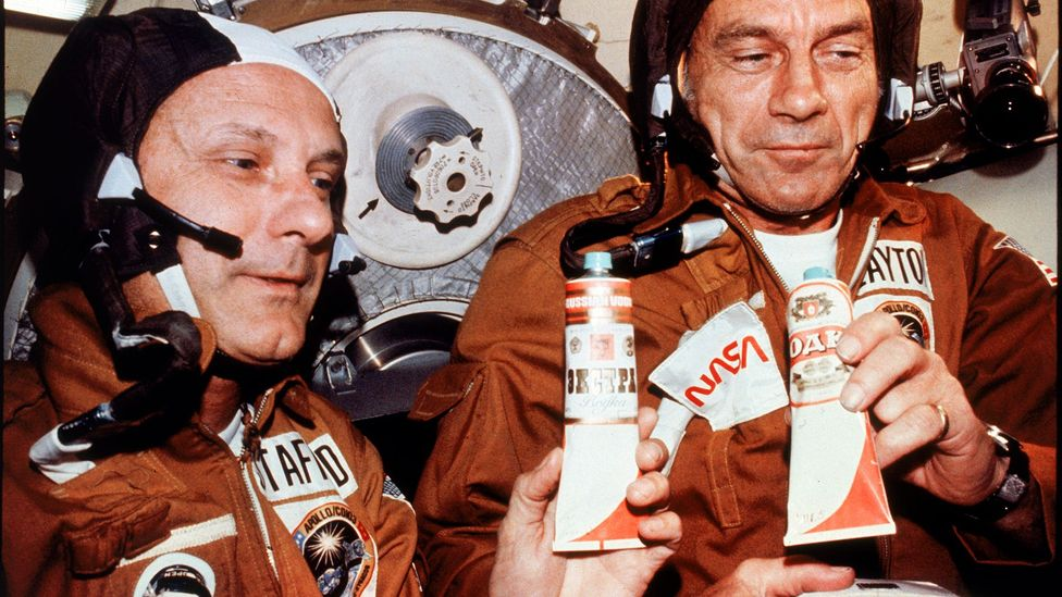 In 1975 American astronauts Tom Stafford and Deke Slayton were presented with tubes apparently holding vodka during an Apollo/Soyuz link-up (Credit:Nasa/Getty Images)