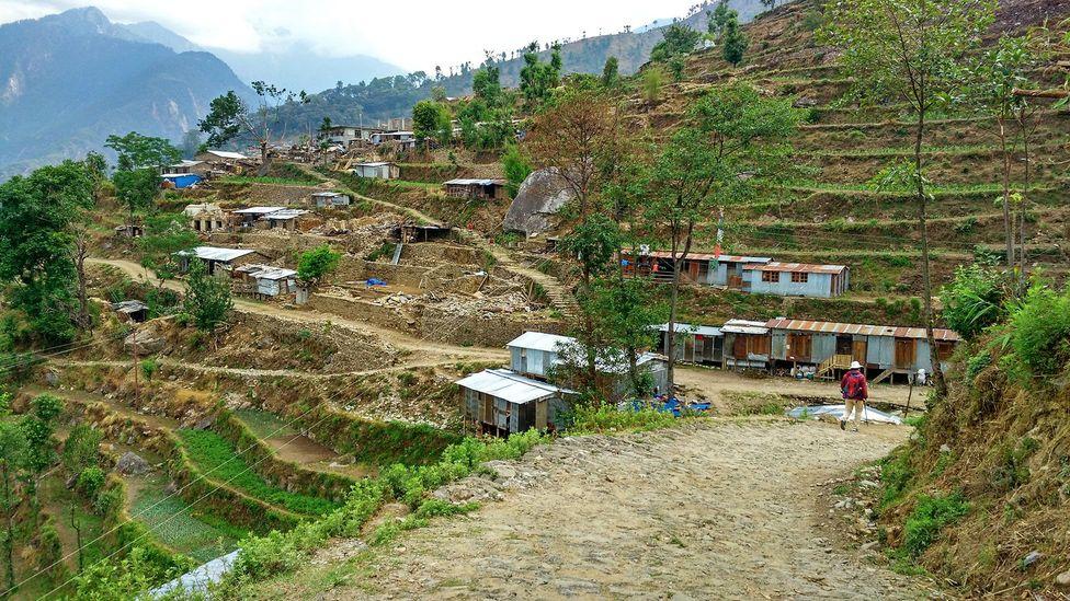 Maila built temporary shelters for the Manekharka community from the debris (Credit: Amrit Sharma)