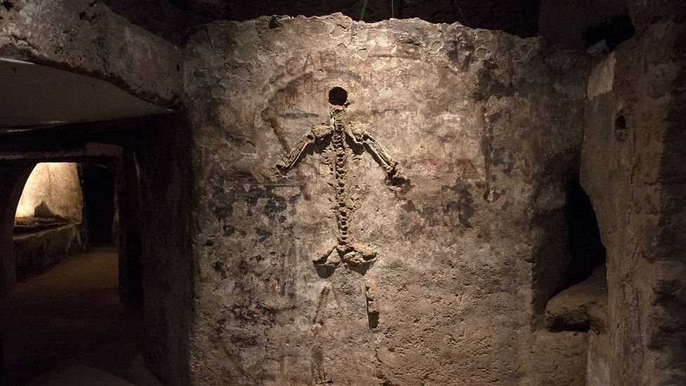 This portrait shows an entire skeleton – but one assembled using spare bones from multiple corpses, creating a kind of 'guardian' of the dead (Credit: Amanda Ruggeri)