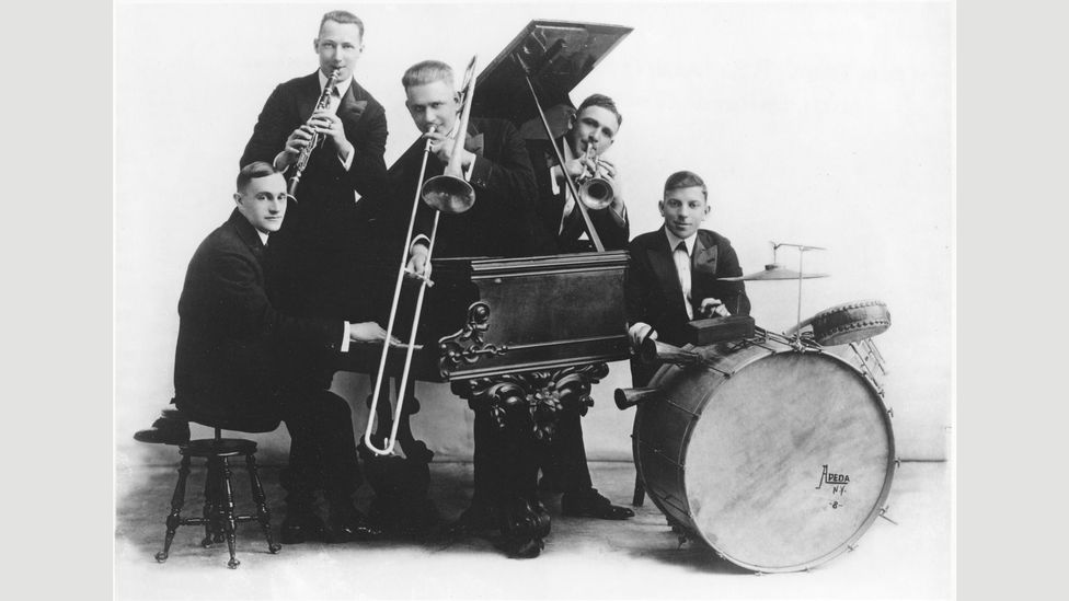 The Original Dixieland Jass Band's Livery Stable Blues was the first jazz recording but their later song Tiger Rag would be more influential (Credit: Wikipedia)
