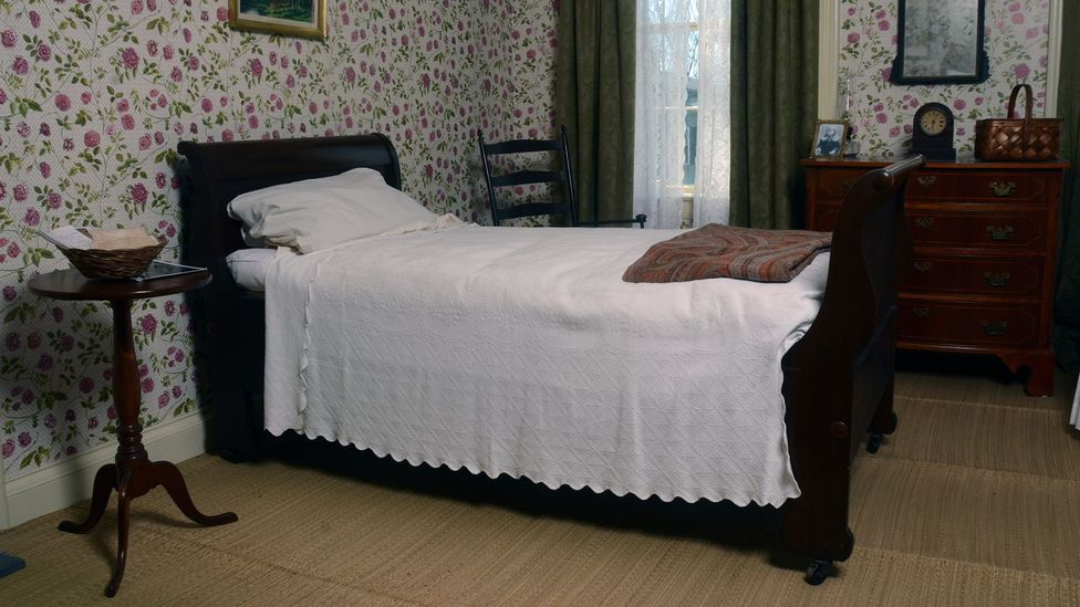 The bedroom of Emily Dickinson in her home in Massachusetts – myth suggests that, like the teenagers who love her, she was reluctant to leave it (Credit: Michael Mederios)