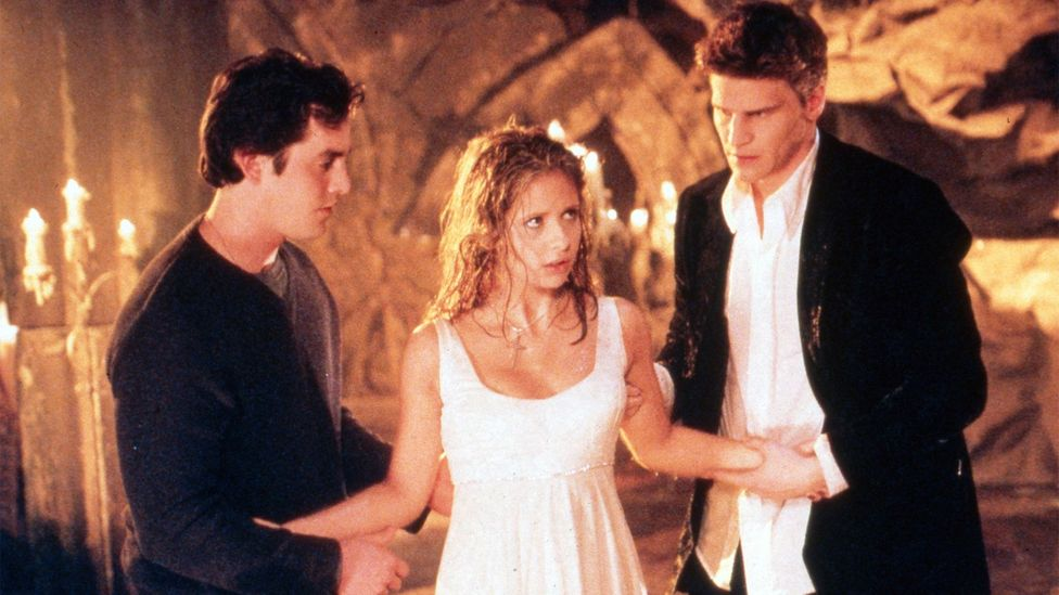 Buffy's romance with vampire-turned-ally Angel (David Boreanaz, right) hooked audiences long before the age of Twilight (Credit: Alamy)