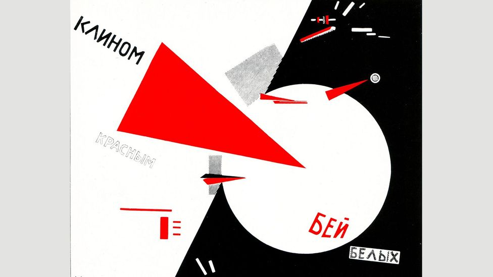 El Lissitzky's Beat the Whites with the Red Wedge symbolises the Red Army penetrating the defences of the anti-communist and imperialist forces (Credit: Alamy)