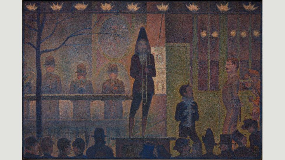 Seurat probably encountered a scene like the one in his Circus Sideshow at the Gingerbread Fair in the outskirts of Paris (Credit: The Metropolitan Museum of Art, New York)