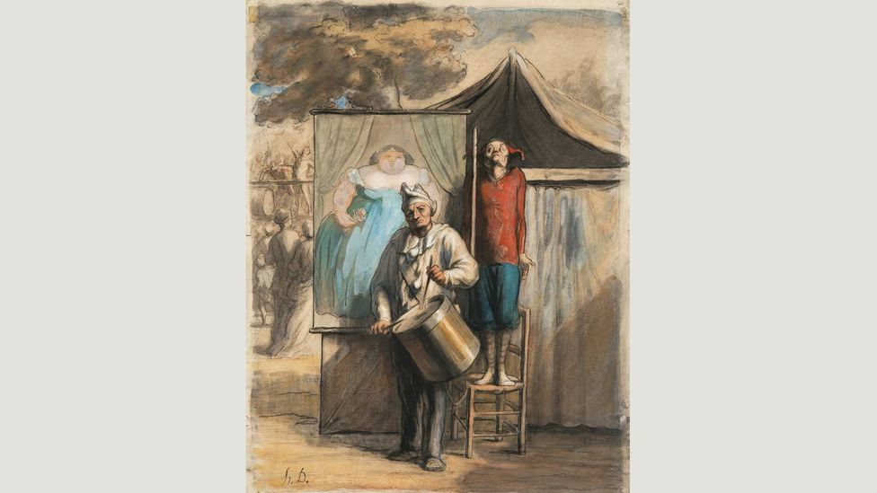 Honoré Daumier's The Sideshow predates Suerat's Circus Slideshow by 20 years and shows entertainers outside the big top, trying to drum up business (Credit: Private collection)