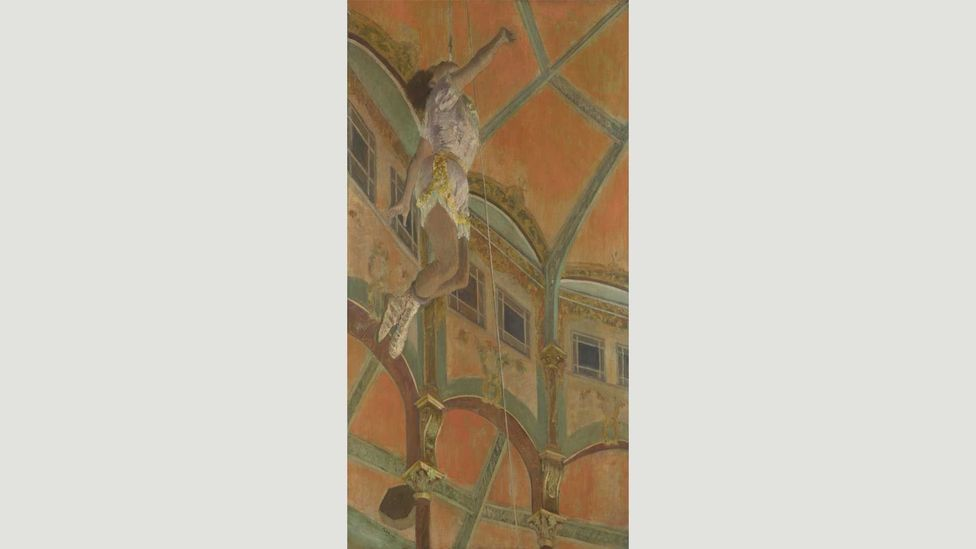 The trapeze artist Miss Lala soars above the Cirque Fernando in Degas' famous painting (Credit: Wikipedia)