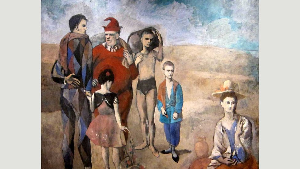 The entertainers in Picasso's Family of Saltimbanques are cast in a desolate landscape, a long way from the bright lights of the big top (Credit: Wikipedia)
