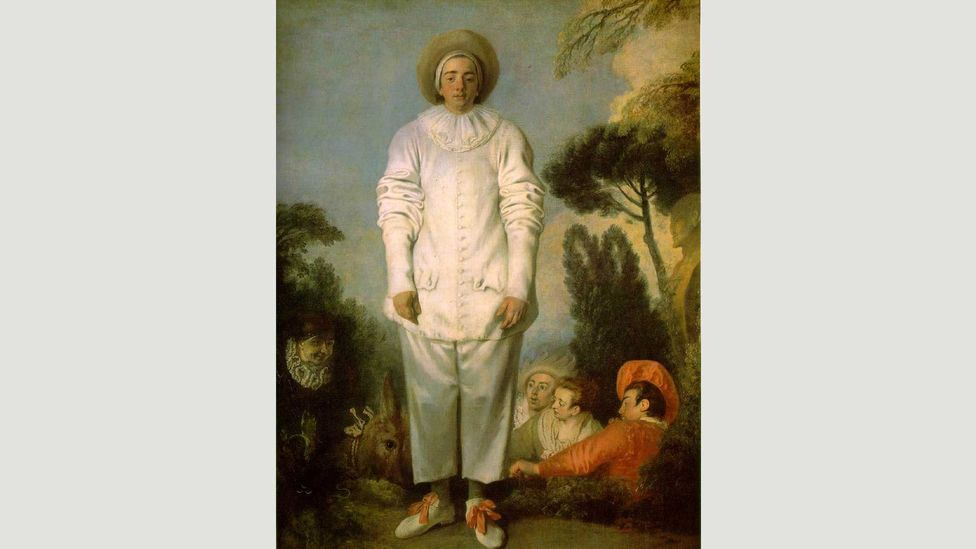 In Watteau's Pierrot, the character from the Commedia dell'arte appears downcast and troubled (Credit: Wikipedia)