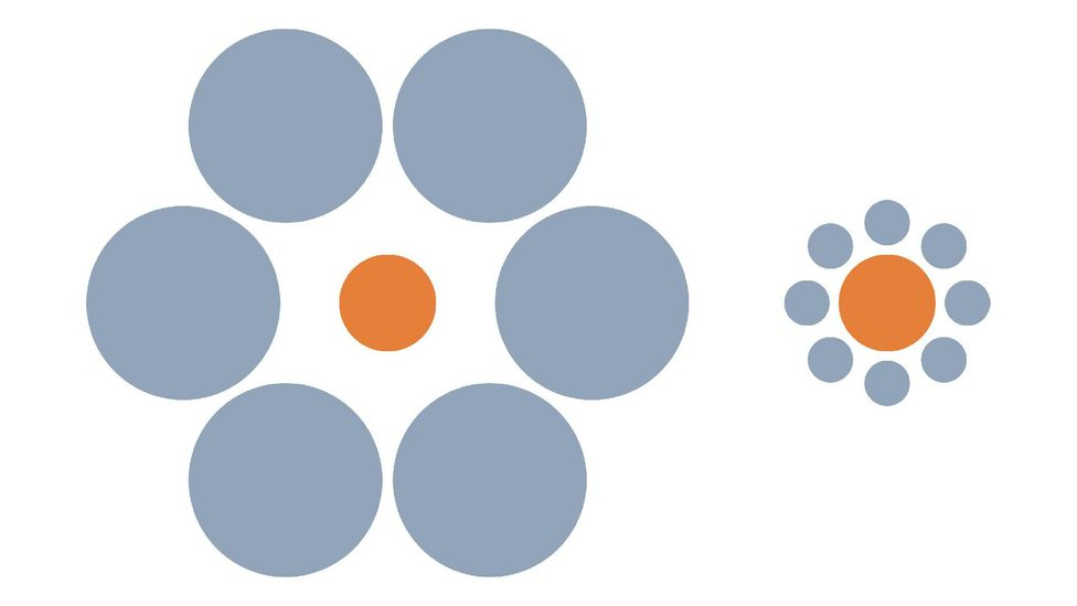 Which orange circle appears bigger? Again, your reaction to this optical illusion will depend on your cultural background (Credit: Wikimedia Commons)