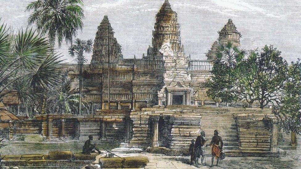 This drawing of the temple's façade was made by Henri Mouhout, a French explorer who visited the site in the mid 19th Century and could not believe his eyes (Credit: Wikipedia)