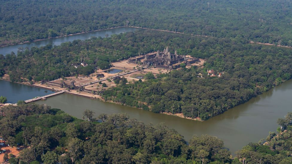 Angkor Wat has a massive moat surrounding the central temple complex – seen from the air, the entire site is remarkable for its precise 90-degree angles (Credit: Alamy)