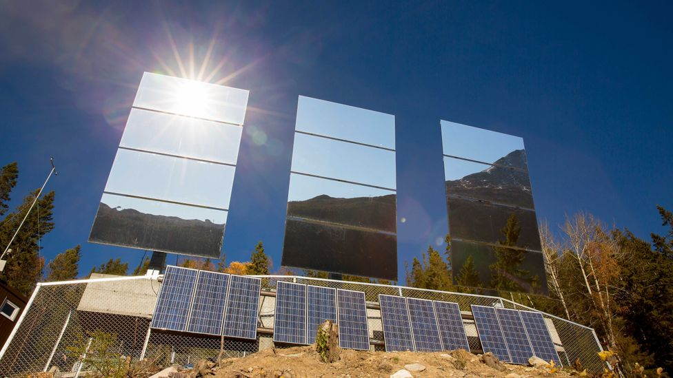 The mirrors are mounted in such a way that they turn to keep track of the Sun (Credit: Getty Images)