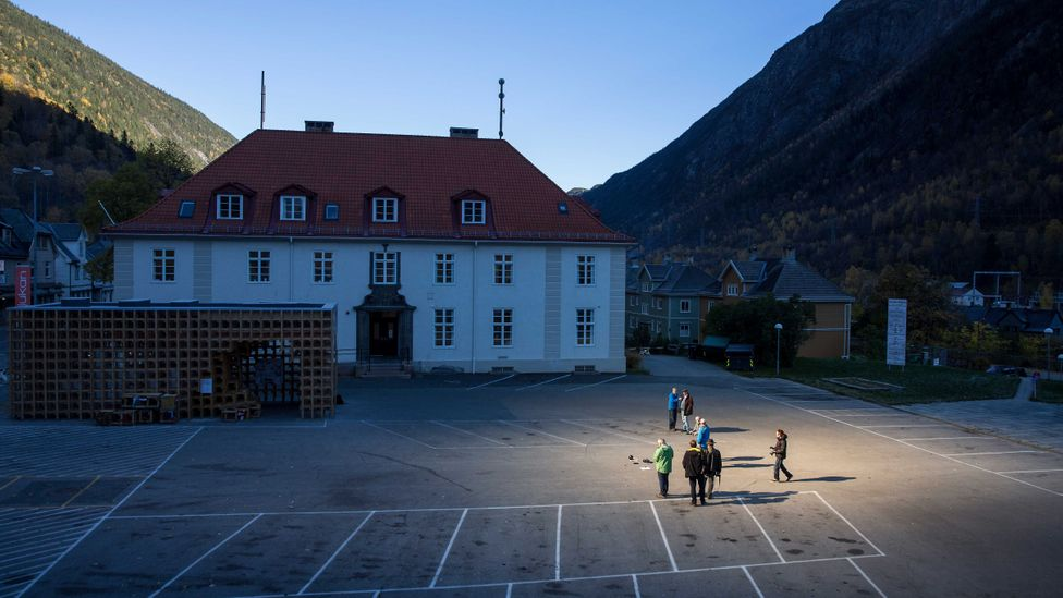 The light shines on the town square but not the rest of Rjukan (Credit: Getty Images)