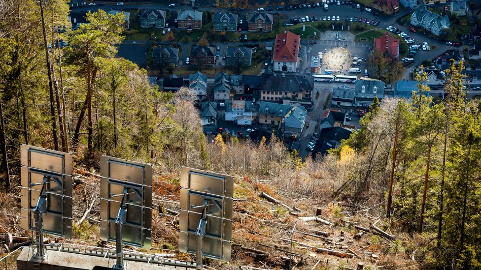 Looking down on Rjukan, the path of the reflected sunlight (Credit: Krister Soerboe/AFP/Getty Images)