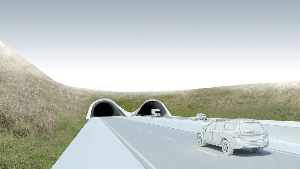 An artist's rendering of one proposed entrance/exit into the tunnel, which is within the world heritage site (Credit: Highways England)