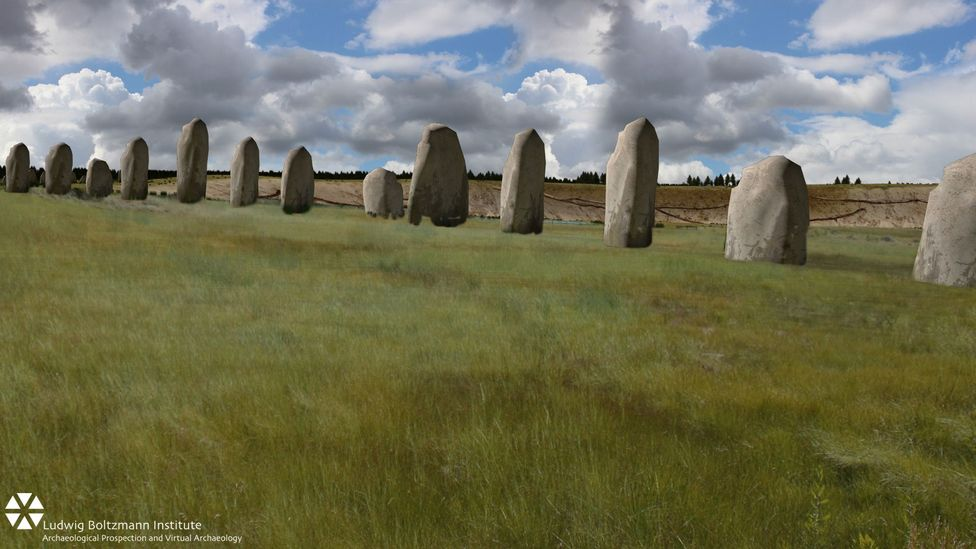 An CGI reconstruction of what the Durrington Walls, a recent discovery in the Stonehenge landscape, looked like (Credit: Ludwig Boltzmann Institute)