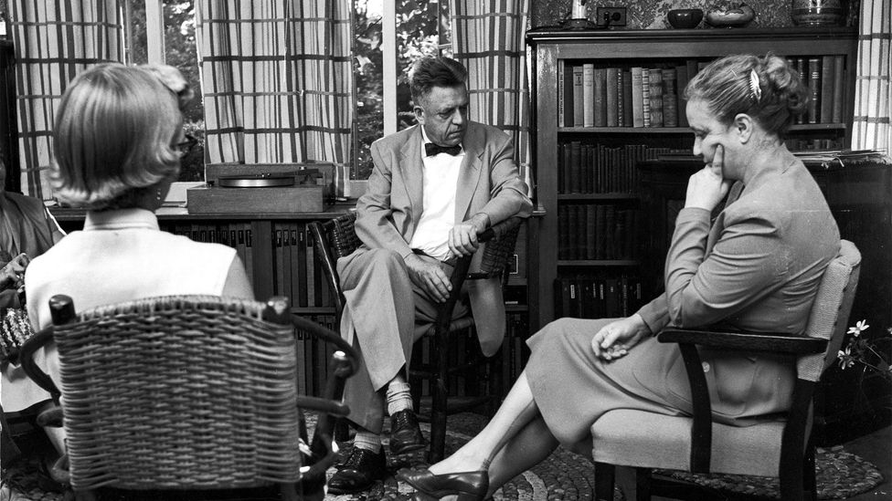 Alfred Kinsey (centre) may have relaxed the taboo around sex, but his reports reaffirmed the existing categories of homosexual and heterosexual behaviour (Credit: Getty Images)