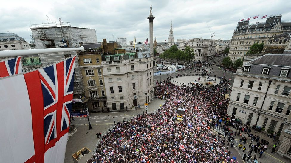 Spectators queue on The Mall, waiting for the Queen's Diamond Jubilee celebrations (Credit: Getty Images)