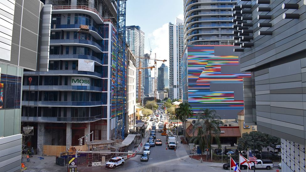 Cranes are at work and buildings under construction in Brickell, a trendy corner of Miami just over the water from the heart of downtown (Credit: Amanda Ruggeri)