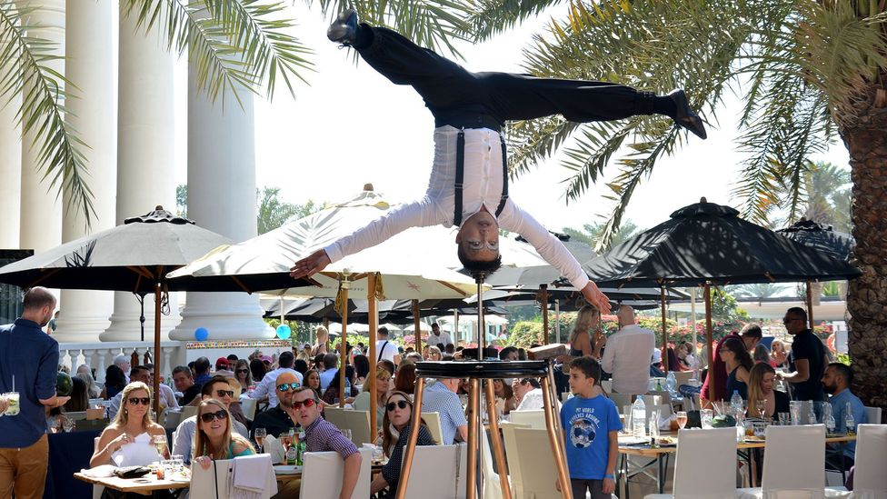 Some brunches offer live entertainment such as acrobats – for a price (Credit: Nomee Gulfam)
