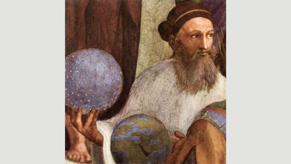 Raphael's The School of Athens, finished in 1511, includes a figure, seen in this detail from the larger work, many historians think is Zoroaster, holding a globe (Credit: Alamy)