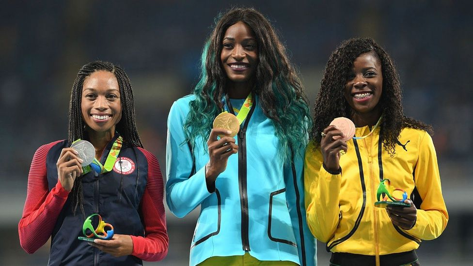 Silver medallist Allyson Felix smiles after losing out on gold at the 2016 Olympics (Credit: Getty Images)