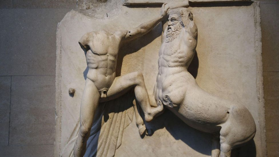 Greek art often served to reinforce ideals of human behaviour, such as how the Parthenon's Metopes depicts the defeat of our animal nature by reason (Credit: Alamy)