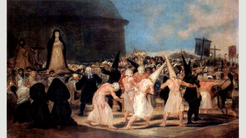 Goya's A Procession of Flagellants documents a more brutal version of the Seville ritual (Credit: Wikimedia)