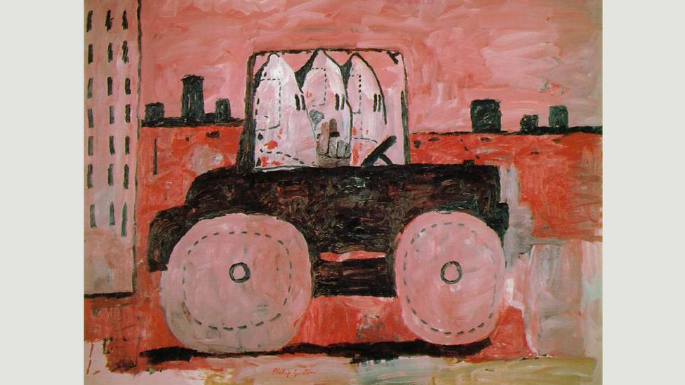 Philip Guston's cartoonish works from the 1960s, such as City Limits, often featured gangs of hooded Klansmen (Credit: Philip Guston/wikiart)